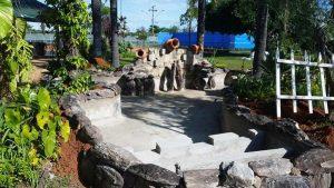 Montar um lago artificial em alvenaria