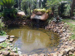 Lago em casa com cascata para relaxar